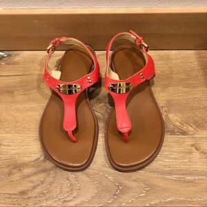 Michael Kors Red Sandals with Gold Plate Thong